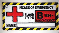 Blood Type Patches, Military Patches, Biker Patches, B RH - Negative
