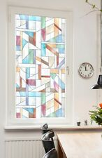 Geometric Stained Glass Window Film - 24x36 Privacy Static Cling Door Film