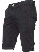 Enzo Mens Chino Shorts Cotton Casual Summer Half Pant Stretch Slim Fit 28-48 Black 42 In.