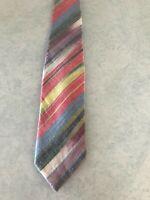 Men's Tie Necktie Excella Cravats Diagonal Stripe Pastel Red Yellow Blue Green