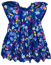 CATIMINI Little Girls Poplin Print Dress Blue Floral Fantasy NWT 3 YEARS 4 YEARS