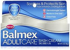 Balmex Adult Care Rash Cream Relief Soothes & Protects Skin Odor Free 3 oz 01/16