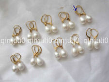 10Pairs 7-8mm White Freshwater Cultured Pearl Leverback Earrings JE161