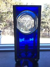 Handmade Blue Clear Stained Glass Happiness Table Lamp Sconce