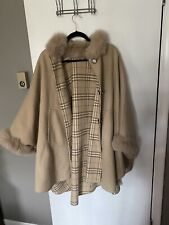 Womens Fox? Wool Cashmere Fur Trim Reversible  Cape Coat One Size Stunning