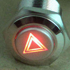 19mm RED LED Hazard Warning Light Metal Switch Emergency Button 12V ON/OFF fu