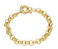 "SALE 9ct 9K YELLOW  "" Gold Filled "" Men Lady 7mm Belcher Bracelet 7"" - 9"" b323YG"
