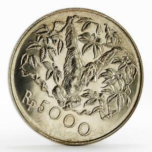Indonesia 5000 rupiah Animal series Orangutan  silver coin 1974