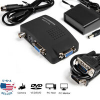 TV BNC Composite S-video VGA In to PC VGA LCD Out Converter Adapter Box Black US