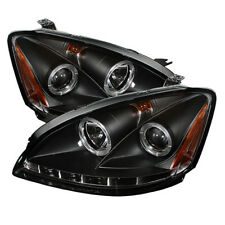 Fit Nissan 02-04 Altima Black Dual Halo LED Projector Headlights Lamp Sl S SE