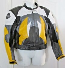 MENS COLLECTIBLE AGV SPORT BLACK YELLOW SWEET LEATHER HARD BACK COAT JACKET 46