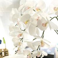 Artificial Silk Fake Flowers White Phalaenopsis Wedding Bouquet Party Home Decor