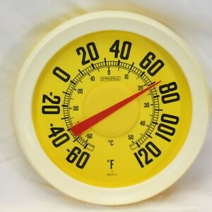 "Springfield Yellow Outdoor Plastic Thermometer USA Temperature 12"" Diameter"