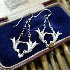 Vintage Sterling Silver Earrings, Lovebirds Earrings, Rare, 925 Silver