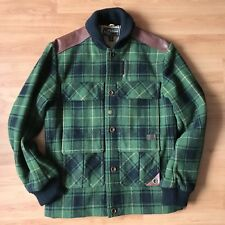 Timberland Abington Plaid wool Jacket Steerhide Leather Shoulder Patch S/M