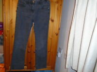 Black faded effect straight leg jeans, GEORGE, size 12, inside leg 30 inches