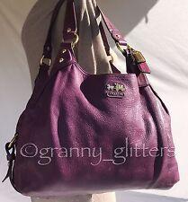 Coach L Madison Purple Plum Leather Maggie Shoulder Handbag Carryall Purse 14336
