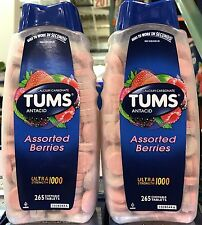 TUMS Antacid Calcium Ultra Strength 1000 Assorted Berries Heartburn 2X 265 Tabs
