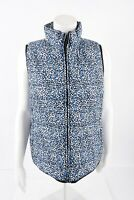 J.Crew Womens Printed Puffer Vest Medium Blue White Cheetah Spotted B9330
