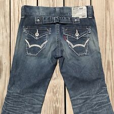 Edwin Blue Trip Jeans Low Rise Distressed Flare Leg Flap Pocket Womens 30 x 27