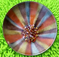 AWESOME VINTAGE MID CENTURY MODERN SIGNED BOVANO COPPER Enamel Dish Bowl Retro