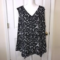 Violet & Claire Woman's Black & White Sleeveless Flower Top Blouse Size 3X