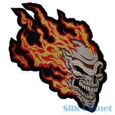 "7x12"" Skull Fire Flame Burning Meteor Ghost Rider Motorrad Biker Back Patch Vest"