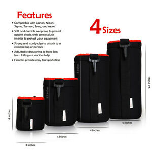 4 Pack Neoprene Lens Bag Protective Sleeve Water & Scratch Resistant Pouch Case