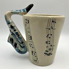 Saxophone Coffee Mug Blue Saxophone Handle Music Notes Ceramic