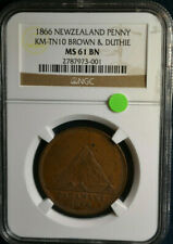 1866 New Zealand Penny, Km-Tn10, Brown & Duthie, Ngc Ms61, Only 1 Ngc Higher