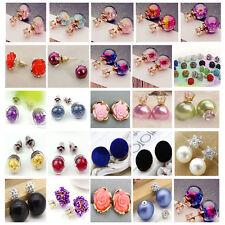 25Style Flower Crystal Star Velvet Women Charm Alloy Ear Stud Earring Jewellery