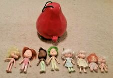 """Vintage 10"""" Strawberry Shortcake Carry Case& 8 dolls  American Greetings Co 1980"""