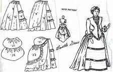 "20""ANTIQUE PARIAN/CHINA HEAD FRENCH FASHION LADY DOLL@1870 BUSTLE DRESS PATTERN"