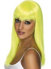 Womens Girls Neon Yellow Glamourama Wig Long Straight Fringe Katy Perry Colour