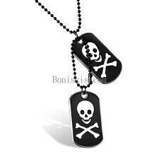 Men's Stainless Steel Black Dog Tag Silver Skull Crossbone Pendant Necklace