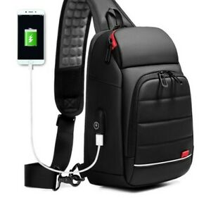 Men's Smart Chest Bag Shoulder Pack USB Charging Port Sports Crossbody Handbag