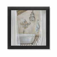 Crystal Bath I Bathroom Black Framed Art Print Poster 12x12