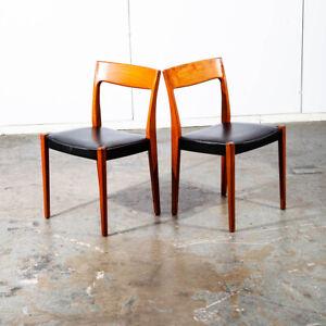 Mid Century Danish Modern Dining Chair Teak Pair 2 Round Back Sweden Denmark Mcm