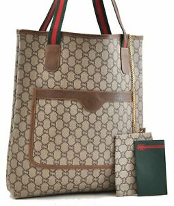 Authentic GUCCI Web Sherry Line GGPlus Shoulder Tote Bag PVC Leather Brown 0411A