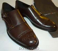 NEW $495 men BRUNO MAGLI ITALY 10 D Dark Brown MONK STRAP SHOES + CLOTH BAGS