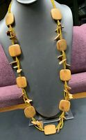 Vintage Bohemian Natural Wood Seed Beaded Necklace Long Sweater Length 36""