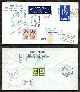 HAMILTON 1964 Airmail Cover to Hungary. RETURNED. Local Stores Coupons   (p0286)