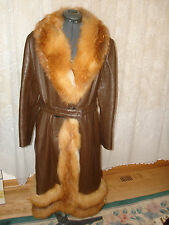 Vintage Beautiful Brown Genuine Leather Winter Coat With Red Fox Fur Trim Belt M