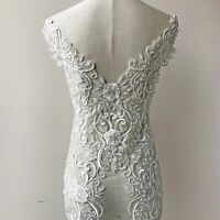 Embroidery Heavy Beads Lace Appliques Patches Back Bodice DIY Wedding Dress 1 PC