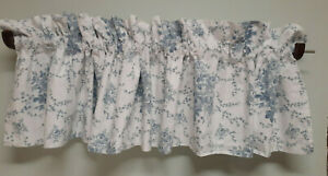Laura Ashley Home Sophia Blue & White Valance-86 by15 --2 Avail Cotton