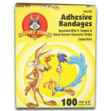 "Looney Tunes Wile E Coyote & Road Runner Adhesive Bandages, 100/Box. 3/4"" x 3""."