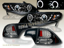 2006-11 HONDA CIVIC 4DR BLACK HALO G2 PROJECTOR HEADLIGHTS CCFL+ TAIL LIGHTS LED