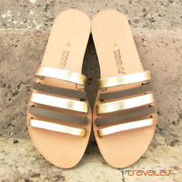 Womens Strappy Gold and Grey Nubuck Leather Sandals