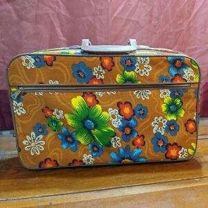 Vintage Mod Flower Power Floral Fabric Tapestry Overnight Suitcase Made in Japan
