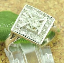 1.10 ct ladies 14k Solid White Gold Natural Diamond Ring Princess Cut Pre-owned